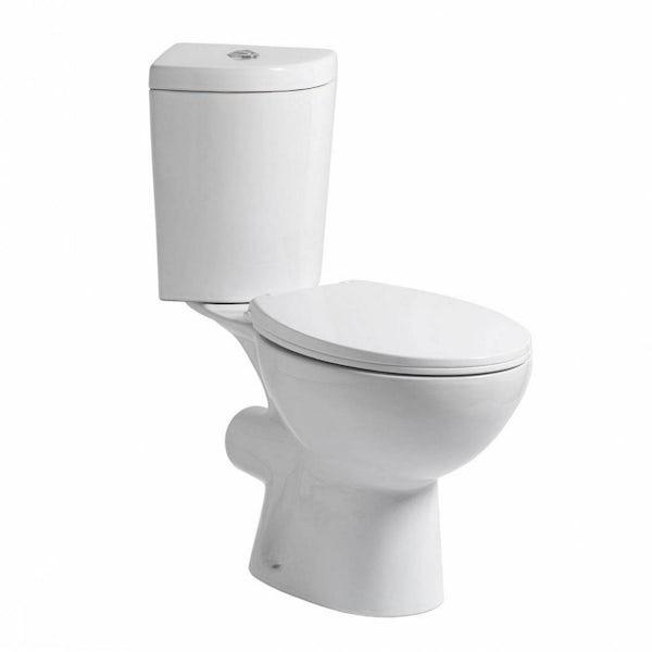 Clarity corner close coupled toilet inc soft close seat