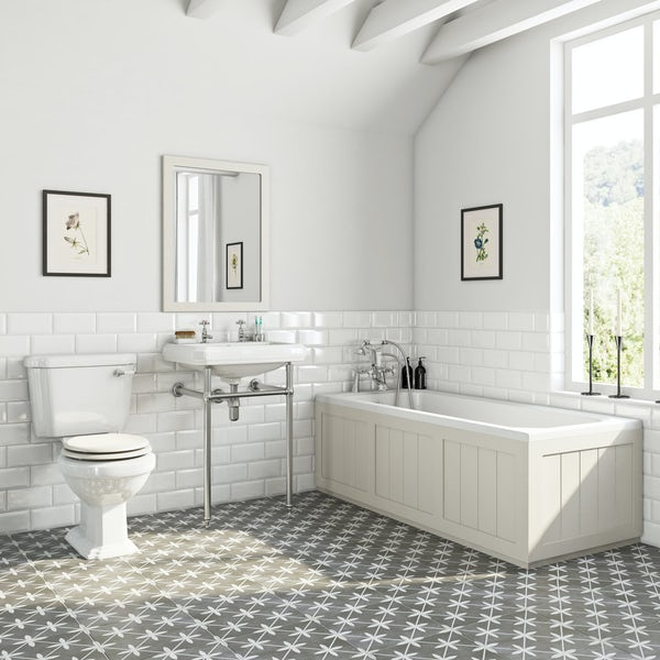 The Bath Co. Dulwich stone ivory washstand suite with straight bath 1700 x 700mm