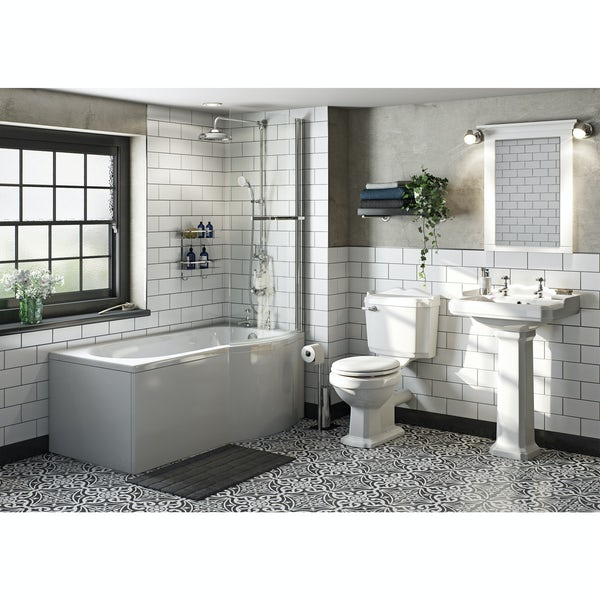 Winchester Bathroom Suite with Evesham 1700 x 850 Shower Bath RH