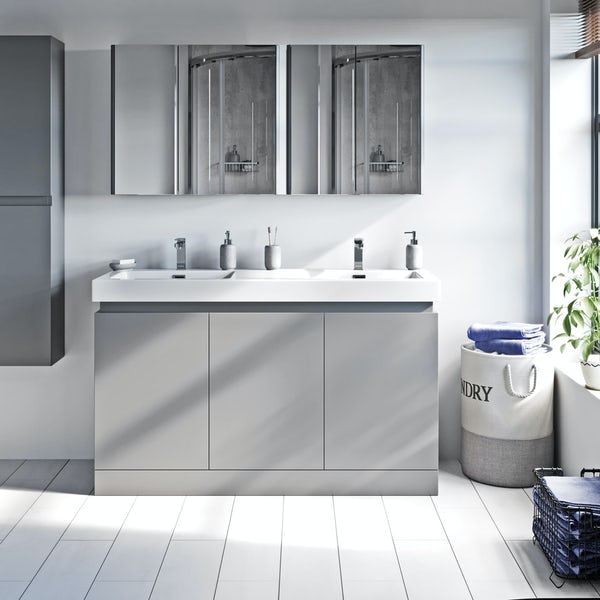 Mode Hardy slate matt grey floorstanding double vanity unit and basin 1380mm
