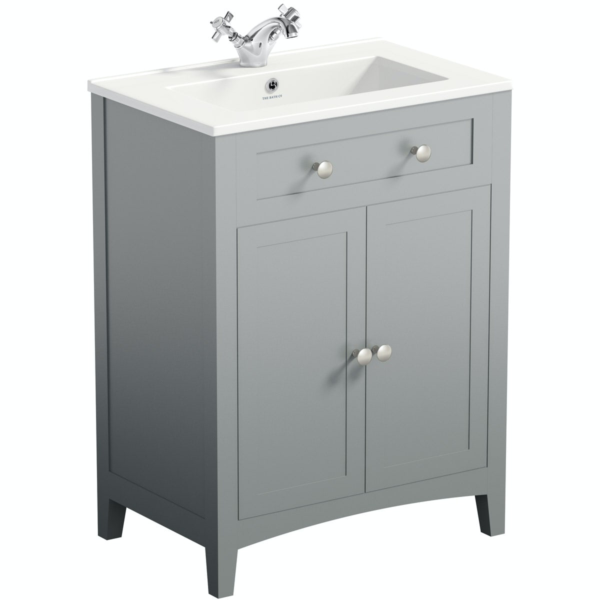 The Bath Co. Camberley grey vanity unit 600mm with sink mixer