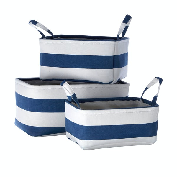 Set of 3 navy striped fabric storage baskets
