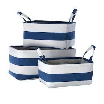 Accents Set of 3 navy striped fabric storage baskets