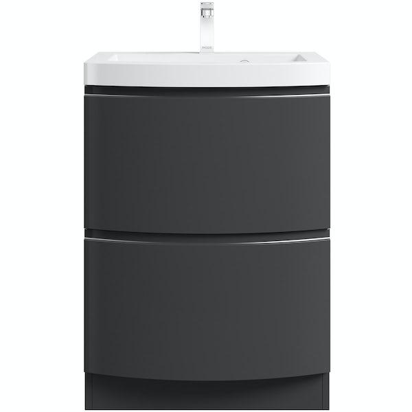 Mode Harrison slate gloss grey floorstanding vanity drawer unit and basin 600mm