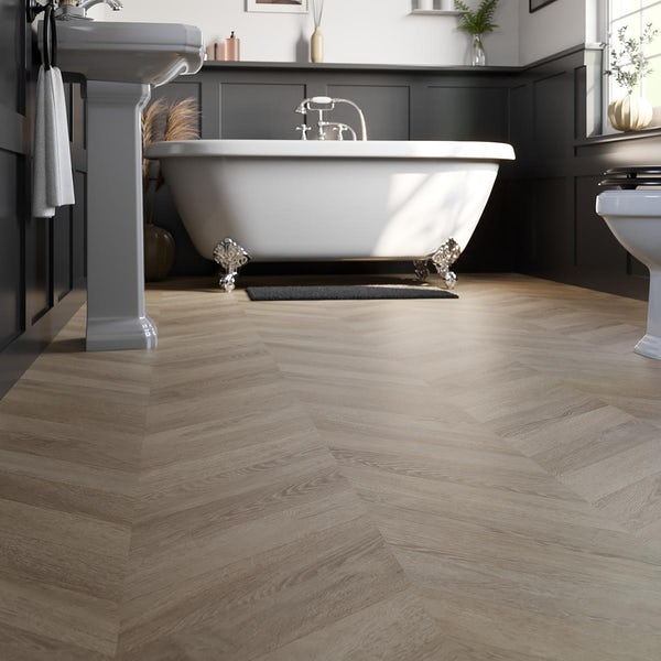 Nipigon amber oak chevron water resistant laminate flooring 8mm