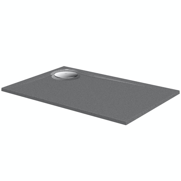 Mode grey granite effect right handed rectangular stone shower tray 1200 x 800
