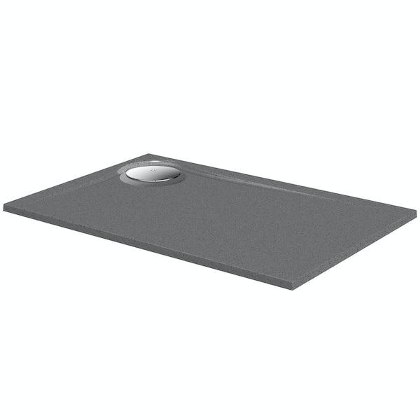 Mode grey granite effect right handed rectangular stone shower tray 1200 x 800