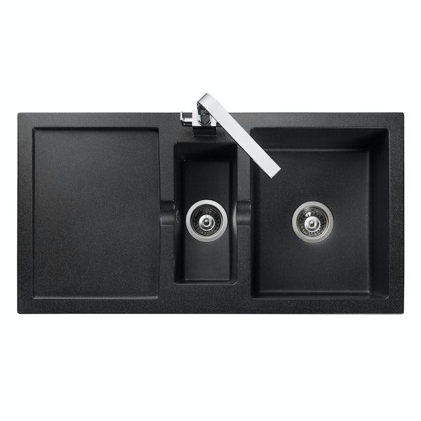 Rangemaster Cubix 1.5 bowl granite black reversible kitchen sink