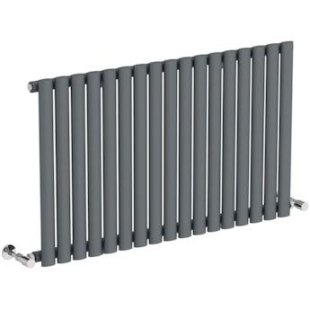 Mode Tate anthracite grey single horizontal radiator 600 x 1000