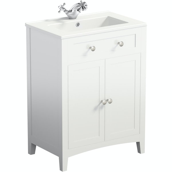 The Bath Co. Camberley white floorstanding vanity unit and ceramic basin 600mm with tap