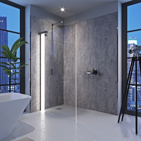 Mode Hale left handed 8mm LED wet room glass panel