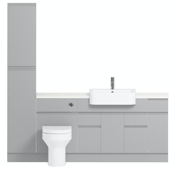 Orchard Wharfe slate matt grey straight medium storage fitted furniture pack with white worktop