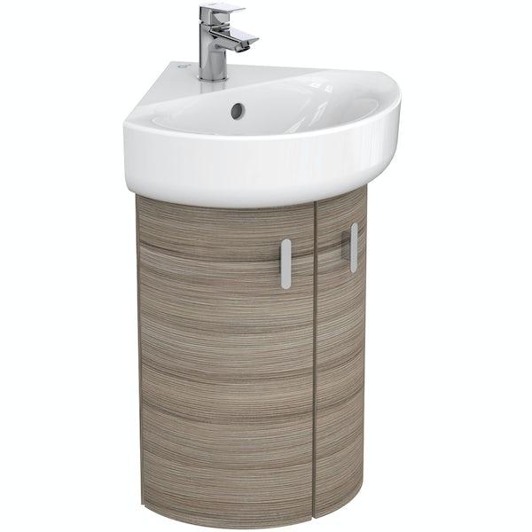 Ideal Standard Concept Space elm wall hung corner basin unit