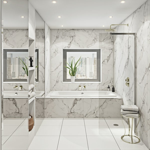 multipanel linda barker calcatta marble hydrolock shower. Black Bedroom Furniture Sets. Home Design Ideas