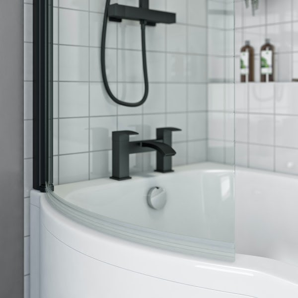 Orchard P shaped left handed shower bath with 6mm matt black shower screen with rail 1500 x 850