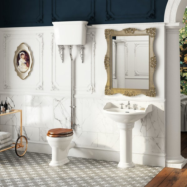 The Bath Co. Charlet high level toilet and full pedestal suite with chrome fittings and taps