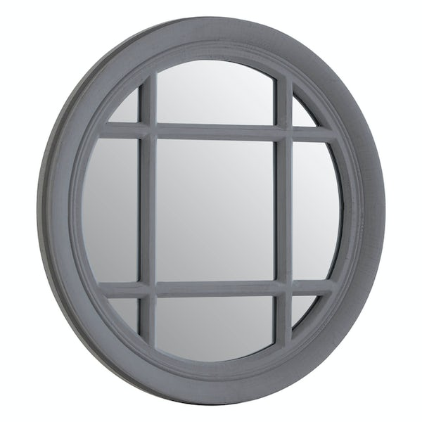 Grey flat wood wall mirror