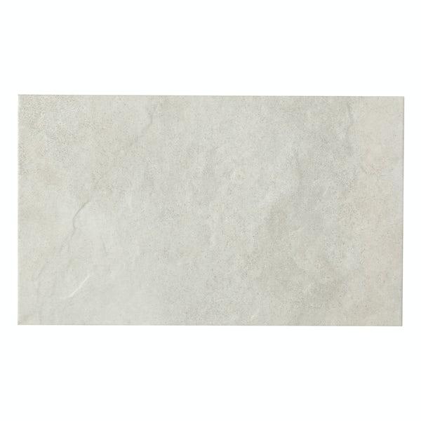 British Ceramic Tile Slate light riven white matt wall and floor tile 298mm x 498mm
