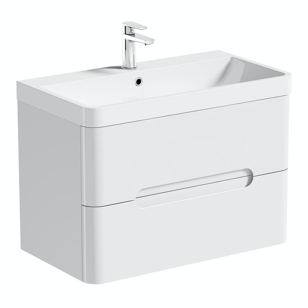 Mode Ellis white wall hung vanity drawer unit and basin 800mm
