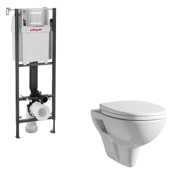 Orchard Eden wall hung toilet with soft close seat and wall mounting frame with push plate cistern