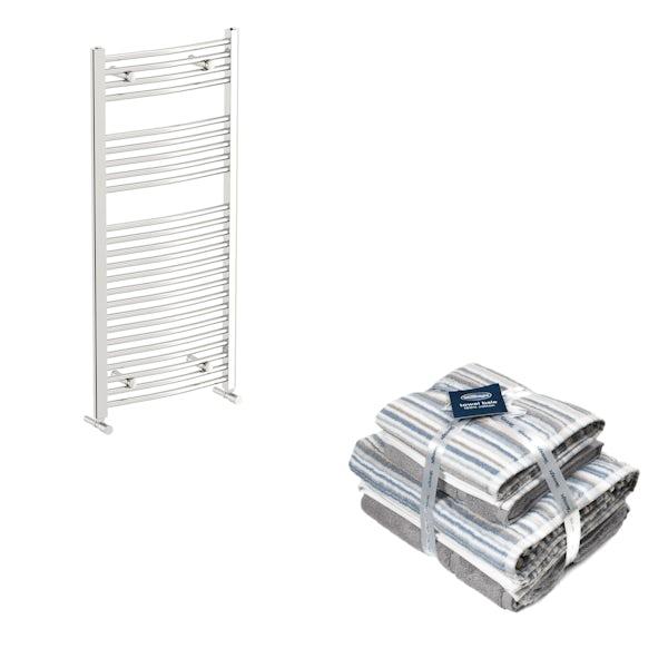 Orchard Elsdon chrome heated towel rail 1150x450 with Silentnight Zero twist grey 4 piece towel bale