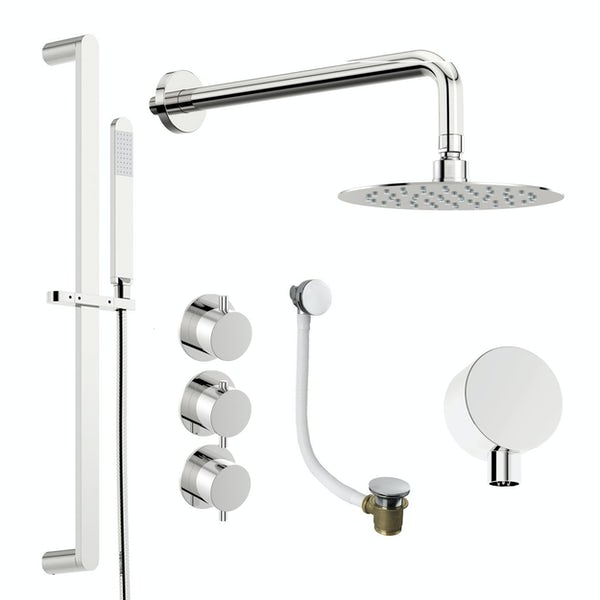 Mode Hardy thermostatic shower valve with complete wall shower bath set