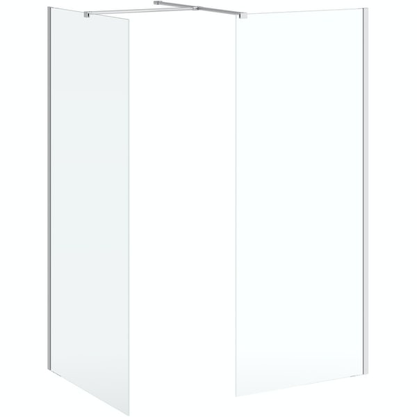 Mode Burton 8mm walk in shower enclosure pack with white stone tray