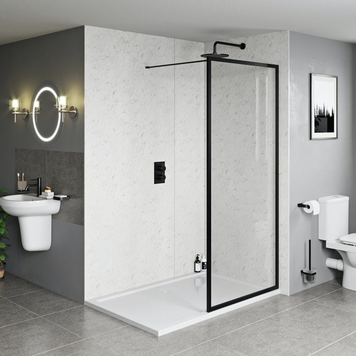 Orchard 6mm Black Framed Wet Room Glass Screen With Stone