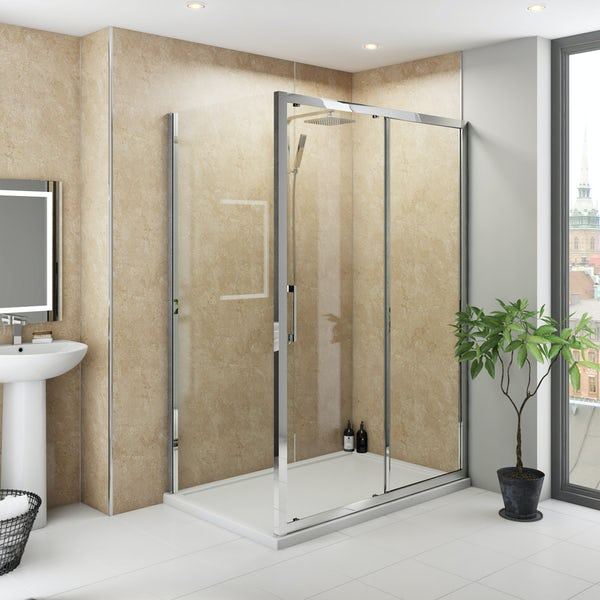 Multipanel Classic Travertine unlipped shower wall panel 1200