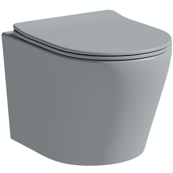 Mode Orion stone grey wall hung toilet with soft close seat and 1m wall mounting frame with push plate cistern