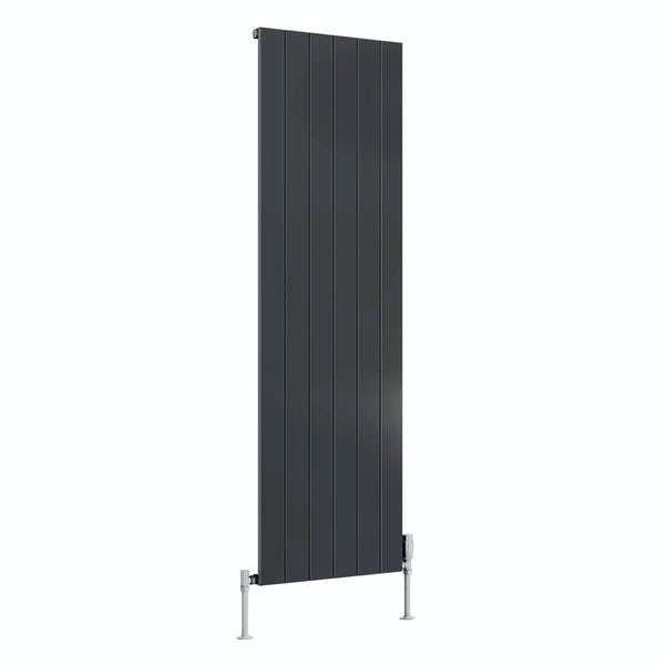 Reina Casina anthracite grey single vertical aluminium designer radiator