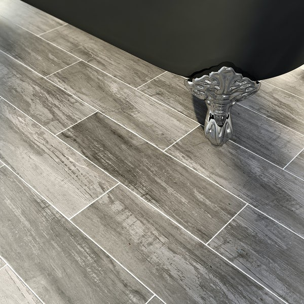 British Ceramic Tile Bark Charcoal Wood Effect Grey Matt