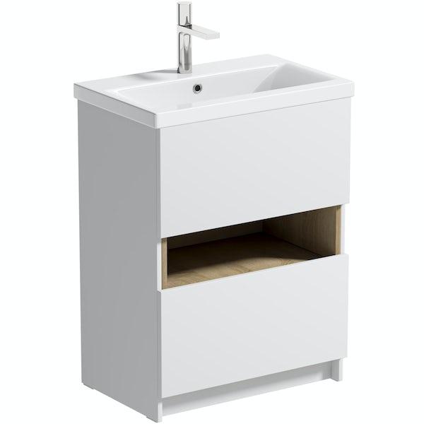 Mode Tate II white & oak floorstanding vanity unit and ceramic basin 600mm