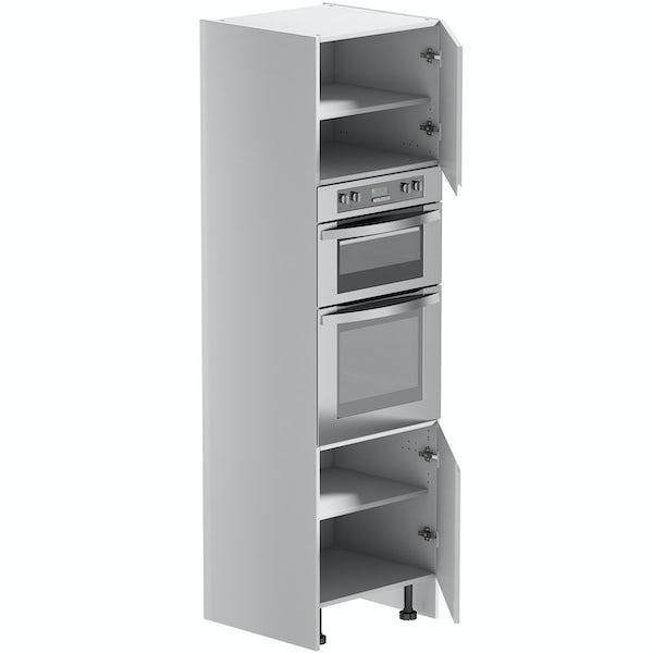 Schon Chicago white slab 600mm double oven housing unit