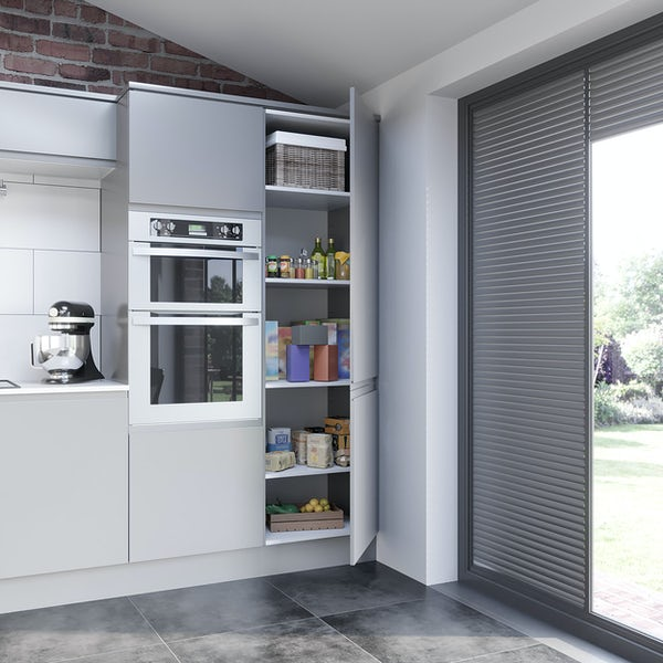Schon Chicago light grey handleless 600mm larder unit