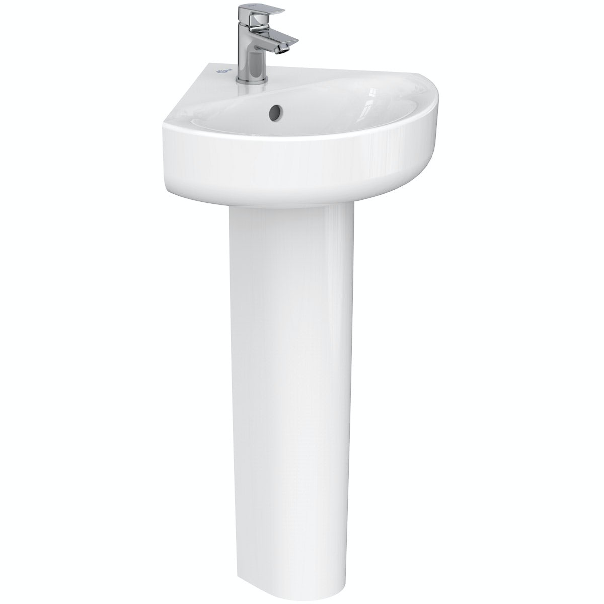 Ideal Standard Concept Space 1 tap hole full pedestal corner basin 450mm