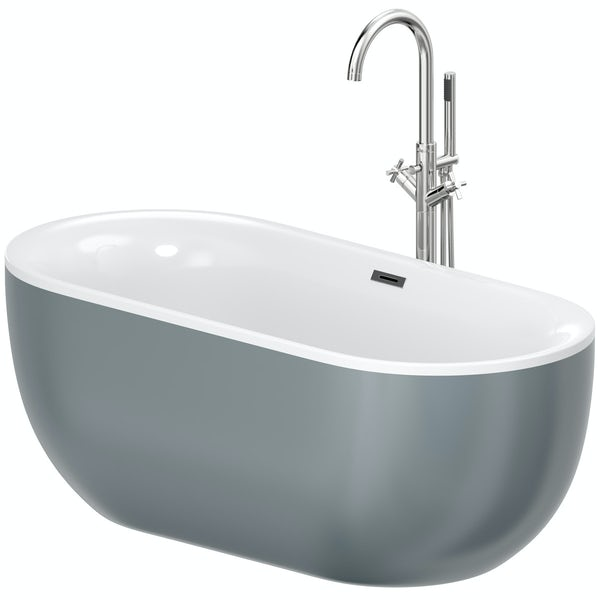 Mode Ellis storm freestanding bath & tap pack with Tate bath filler