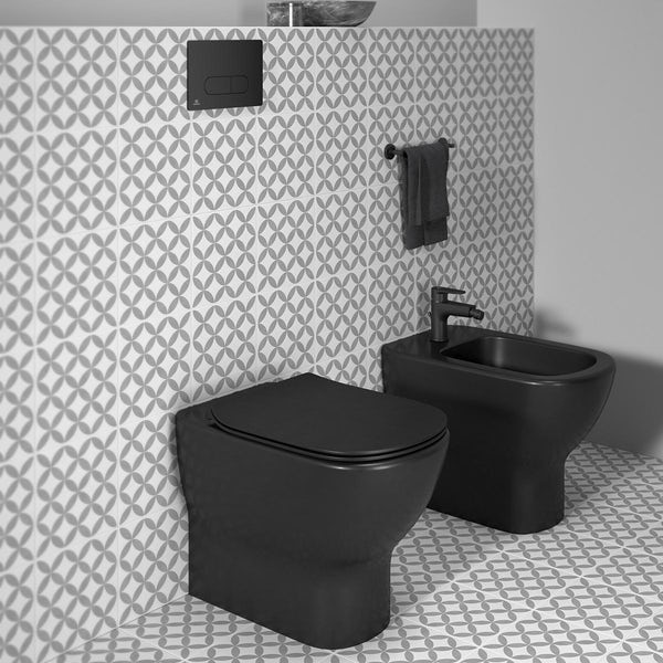 Ideal Standard Tesi silk black back to wall toilet with soft close seat