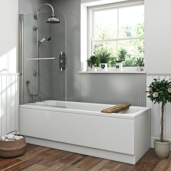 The Bath Co. Camberley 1700 x 700 shower bath with 6mm curved single screen and rail