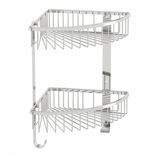 Options Brass Wall Mounted Double Triangular Basket