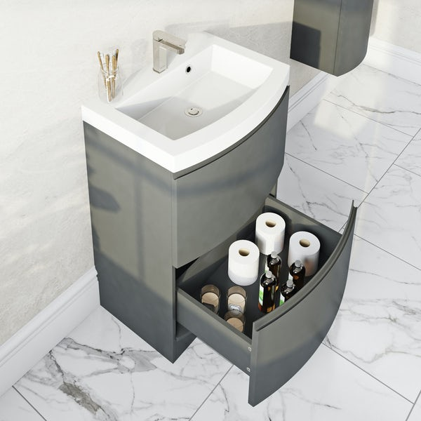 Mode Harrison slate gloss grey floorstanding vanity drawer unit and basin 600mm with tap