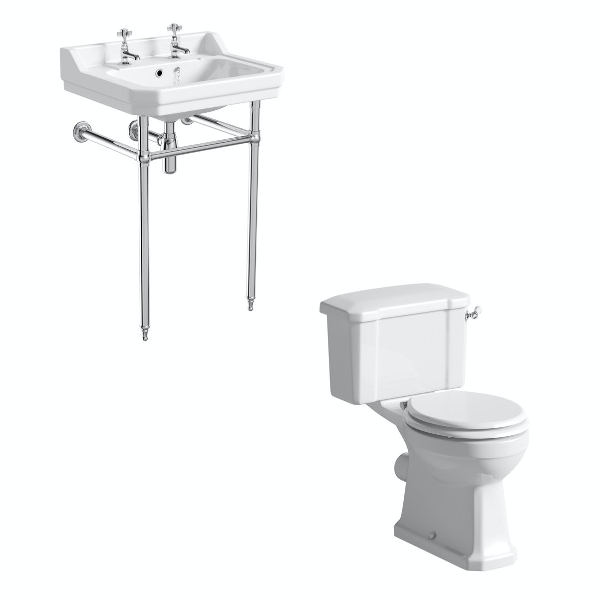 The Bath Co. Camberley cloakroom suite with white seat, washstand and basin 610mm