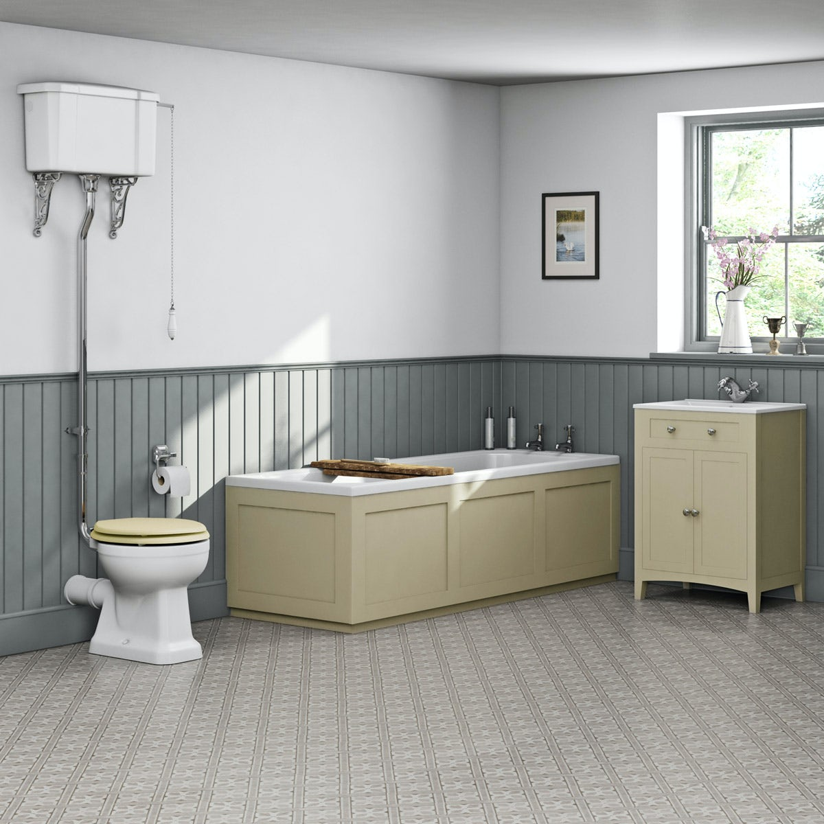 The Bath Co Camberley Satin Ivory High Level Furniture