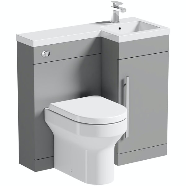 Orchard MySpace grey right handed combination unit with Wharf toilet