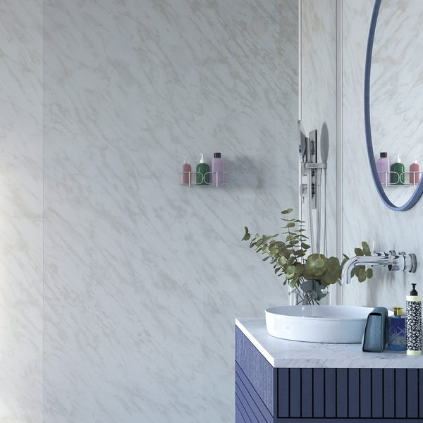 Showerwall Carrara Marble waterproof proclick shower wall panel