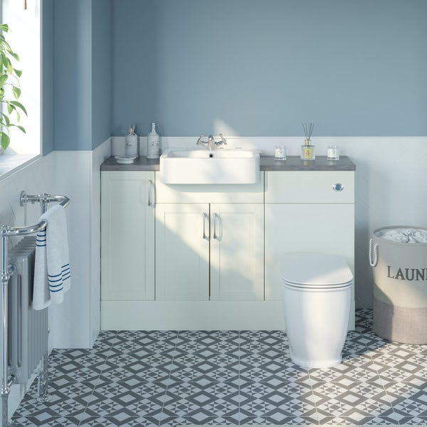 The Bath Co. Newbury white small fitted furniture combination with mineral grey worktop