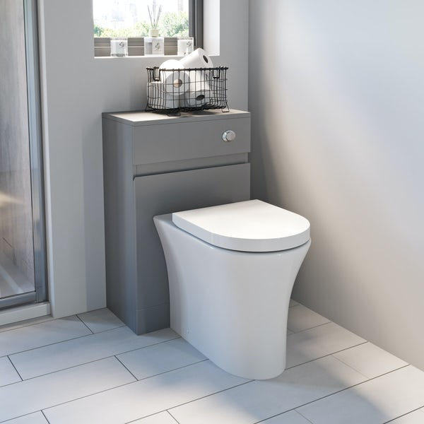 Mode Hardy slate matt grey back to wall unit and rimless toilet with soft close seat