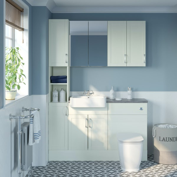 The Bath Co. Newbury white tall fitted furniture & storage combination with mineral grey worktop
