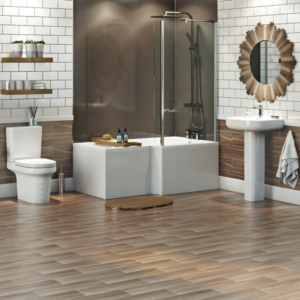 Mode Burton complete right hand shower bath suite