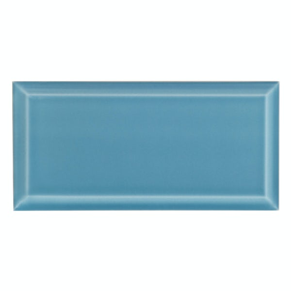 Deep Metro blue bevelled gloss wall tile 100mm x 200mm